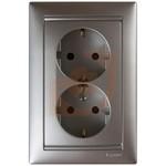 Розетка электрическая 2х2К+З, нем. стандарт, с защитными шторками, алюминий, Valena, пр-во Legrand