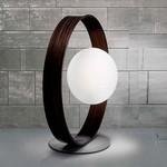 0308241213602 Leucos Studio торшер Giuko XXL, белое стекло в кольце цвета черного дерева, диам.95см 1x100W E27, алюминий