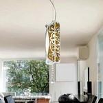 0203005050602 Leucos Modo светильник подвесной Charme S, белый/золото, d=12cm, h=150cm, 1x100W E27, хром