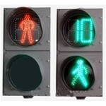 Светодиодный пешеходный светофор с секциями СПК-В-200 (с отсчетом разрешаюшего сигнала без зуммера) и СПЗ-В-200 - d200 мм (с отсчётом запрещающего сигнала без анимации)