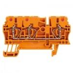 1636790000 WEIDMULLER  Клеммная колодка пружинная ZDU 2.5/3AN OR на дин-рейку оранжевая
