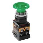 Кнопочный выключатель AELA-22       зеленый гриб с подсветкой   1з+1р  230В