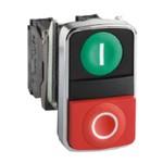 XB4BL73415   1но+1нз  двойная  зеленая+красная   Telemecanique