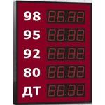 Групповое офисное табло АЗС, модель Импульс-606-5x1-W