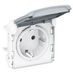 Механизм розетки с заземлением Legrand Plexo IP55, с винтовыми зажимами, белый