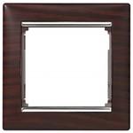 Рамка Legrand Valena 1 пост темное дерево/серебряный штрих