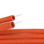 Труба ПНД гофрированная DKC д.32мм, лёгкая  с протяжкой, цвет оранжевый [бухта 25м]