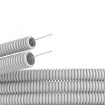 Труба ПВХ гофрированная DKC д.25мм, тяжёлая с протяжкой, цвет серый [бухта 50м]