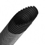 Труба гибкая двустенная дренажная д.110мм с геофильтром, класс SN8, перфорация 360?, цвет черный