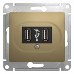 GLOSSA USB РОЗЕТКА, 5В /1400 мА, 2 х 5В /700 мА, механизм, ТИТАН