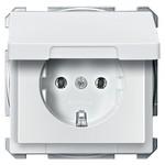 Розетка c/з с крышкой Merten System Design Полярно-белый