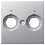 Накладка телевизионной розетки c надписью TV+FM System M Merten алюминий