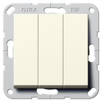 Выключатель/переключатель трехклавишный Gira System 55 кремовый глянцевый