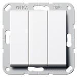 Выключатель/переключатель трехклавишный Gira System 55 белый глянцевый