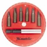 Набор бит, магнитный адаптер для бит, сталь 45Х, 7 предм., в пласт. закрытом боксе MATRIX 11392