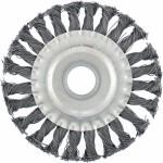 Щетка для УШМ 100 мм, посадка 22,2 мм, плоская, крученая металлическая проволока MATRIX 74630