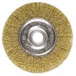 Щетка для УШМ, 100 мм, посадка 22,2 мм, плоская, латунированная витая проволока MATRIX 74648