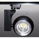 Трековый светодиодный светильник Track-58 (220V, черный корпус, 30W, однофазный) (теплый белый)