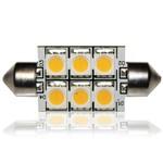 Автолампа F37mm 6-LED5050-12V (теплый белый)
