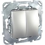 Schneider Electric Unica Top Алюминий Переключатель 2-клавишный (сх.6+6) MGU5.213.30ZD