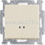 BASIC 55 Выключатель двухклавишный с подсветкой альпийский белый (1012-0-2154)