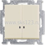 BASIC 55 Выключатель двухклавишный с подсветкой слоновая кость (1012-0-2157)