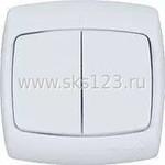 РОНДО Выключатель двухклавишный скрытый 250В 6А белый (С56-052)