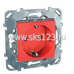 SEDNA Розетка с заземлением со шторками в рамку красная (SDN3000341)