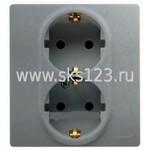 ETIKA Розетка двойная с заземлением со шторками алюминий автоматические зажимы (672433)