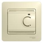 Термостат с рамкой Glossa электронный теплого пола с датчиком 10A бежевый