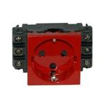 Розетка силовая Legrand Legrand Mosaic Красная розетка с/з 1-ая 2М для кабель-каналов с мех. блок. (074198)