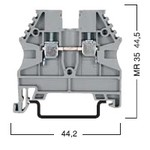 Клеммник на DIN-рейку 2,5мм.кв. (серый); AVK2,5 в наличии