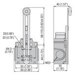 KN F1 S02 Концевой выключатель, регулируемый рычаг с пласт. роликом, 2NC, LOVATO Electric