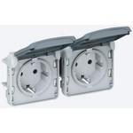 Розетка Plexo IP55 тройная 2К+З 16А французский стандарт, горизонтальные, белый | арт. 69644