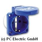 105-0b Розетка встраиваемая синяя, 2P+E, фланец 50х50, IP54, PCE