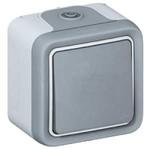 Кнопочный выключатель Plexo IP55 10A Н.О. контакт, в сборе для наклад.монтажа, серый   арт. 69719