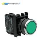 B290DY Кнопка с подсветкой-светодиод зеленая (контакт 1НЗ) 12-30 Вольт переменного и постоянного тока , EMAS