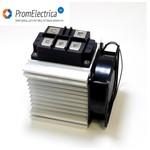 Трехфазная диодная сборка 400 Ампер на охладителе с вентилятором для напряжений 12, 24, 36, 42, 48 Вольт