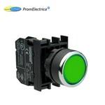 B100DY Кнопка нажимная круглая зеленая (контакт 1НО) , EMAS