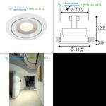 115801 SLV LUZO LED DISK, Deckeneinbau- ring, rund, weiss, 2700K, 12W, 85°
