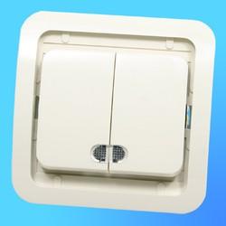 """Выключатель 2 СП """"Мимоза"""" крем, без декор.вставки со световым индикатором 32023  (Makel)"""