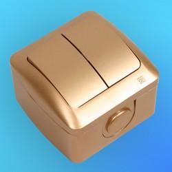 """Выключатель 2 ОП """"Alsu"""" золото (MAT ALTIN), брызгозащищенный 5041300202 (El-Bi)"""