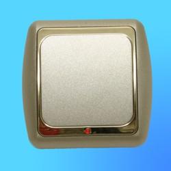 Выключатель 1 СП С16-003 АБС метал,крем./зол. со световым индикаторм (Ростов)