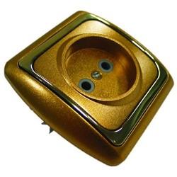 Розетка 1 СП РС16-004 АБС металл зол./зол. рамка (Ростов)