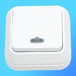 Выключатель 1 ОП белый, со световым индикатором 45121 (Makel)