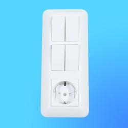 Блок БК2ВР-008Б, белый (евророзетка+2-кл.выкл.+2-кл.выкл.) (Wessen)