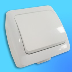 """Выключатель 1 ОП """"Alsu"""" брызгозащ. белый 5040200200 (El-Bi)"""