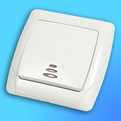 """Выключатель 1 СП """"CARMEN"""" крем, со световым индикатором 90562019 (Vi-Ko)"""