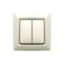 Выключатель двухклавишный с подсветкой, скрытой установки, цвет белый
