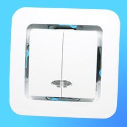 """Выключатель 2 СП """"Lillium"""" белый, без декор.вставки со световым индикатором 71023  (Makel)"""